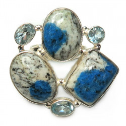 Кольцо с яшмой и голубым топазом 263-yhr