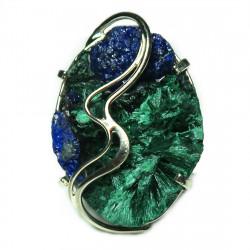 Кольцо с игольчатым малахитом и азуритом 118-mr