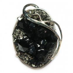 Кольцо с меланитом (андродитом) и пиритом 1603-nr