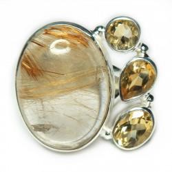 Кольцо с рутиловым кварцем (волосатик) 1607-nr