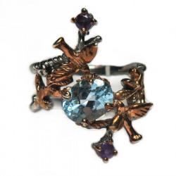 Кольцо с голубым топазом 1076-er