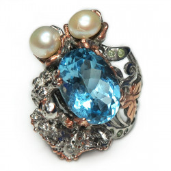 Кольцо с голубым топазом и белым жемчугом 1527-er