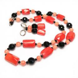 Бусы и серьги из оранжевого коралла 070-ko