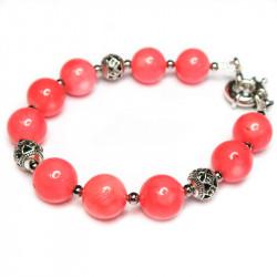 Браслет с розовым кораллом 084-kb