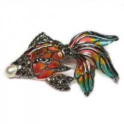 Брошь Рыбка с жемчугом и марказитом 053-ebr