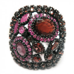 Кольцо с гранатом и рубином 1211-er