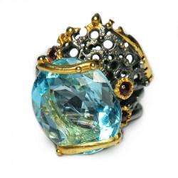 Кольцо с голубым топазом 1231-er