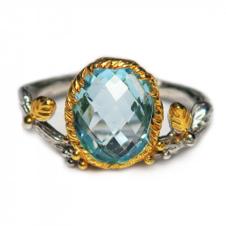 Кольцо с голубым топазом 1283-er