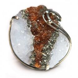 Кольцо с кристаллами кварца, граната, пирита 1515-nr