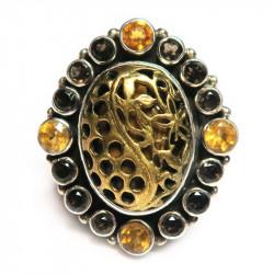 Кольцо с тигровым глазом цитрином и раухтопазом 1052-nr