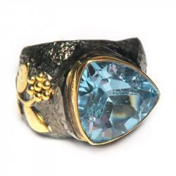 Кольцо с голубым топазом 1054-er