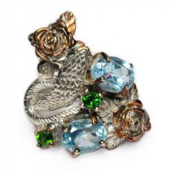 Кольцо с голубым топазом 1077-er