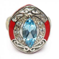 Кольцо с голубым топазом и эмалью 127-er