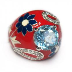Кольцо с голубым топазом и эмалью 128-er