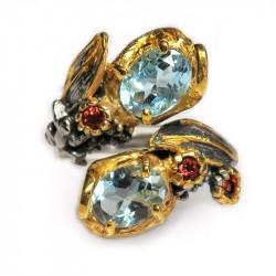Кольцо с голубым топазом 1318-er
