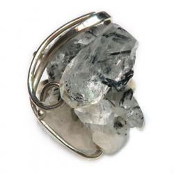 Кольцо с кварцем и черным турмалином 1424-nr