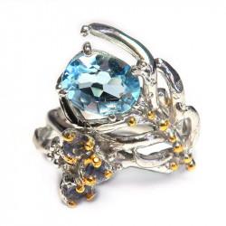 Кольцо с голубым топазом 1470-er