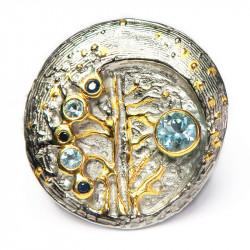 Кольцо с голубым топазом и сапфиром 1516-er