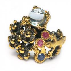 Кольцо с голубым топазом, танзанитом, рубином 1528-er