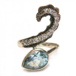 Кольцо с голубым топазом 1594-er