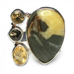 Кольцо с симбирцитом и самоцветами 733-nr