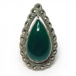 Кольцо с зеленым ониксом 779-nr