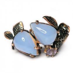 Кольцо с голубым халцедоном 1078-er