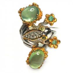 Кольцо с пренитом и изумрудами 1171-er