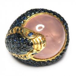 Кольцо с розовым кварцем 1196-er