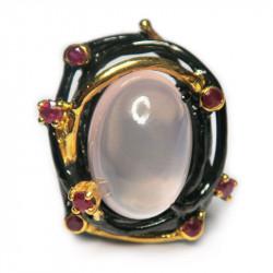 Кольцо с розовым кварцем 1251-er