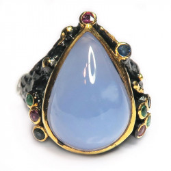 Кольцо с голубым халцедоном 1252-er