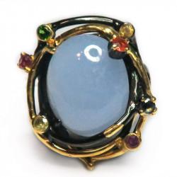 Кольцо с голубым халцедоном 1253-er