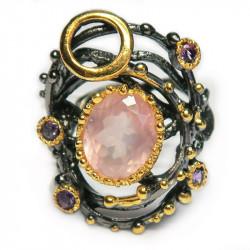 Кольцо с розовым кварцем 1324-er