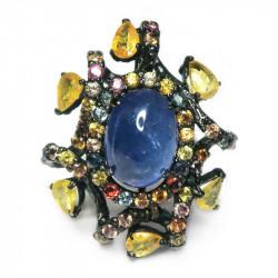 Кольцо с танзанитом и цветными сапфирами 1350-er