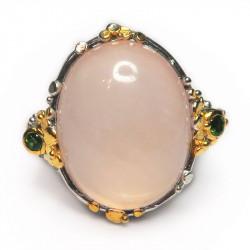 Кольцо с розовым кварцем 1487-er