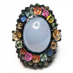 Кольцо с голубым халцедоном 871-er
