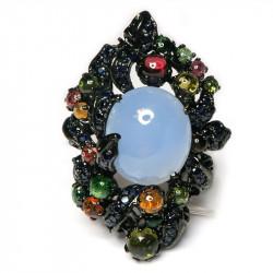 Кольцо с голубым халцедоном 872-er