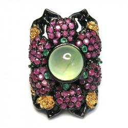 Кольцо с пренитом и самоцветами 873-er