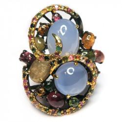 Кольцо с голубым халцедоном 876-er