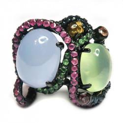 Кольцо с халцедоном, пренитом и самоцветами 900-er