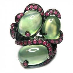 Кольцо с пренитом и рубинами 905-er